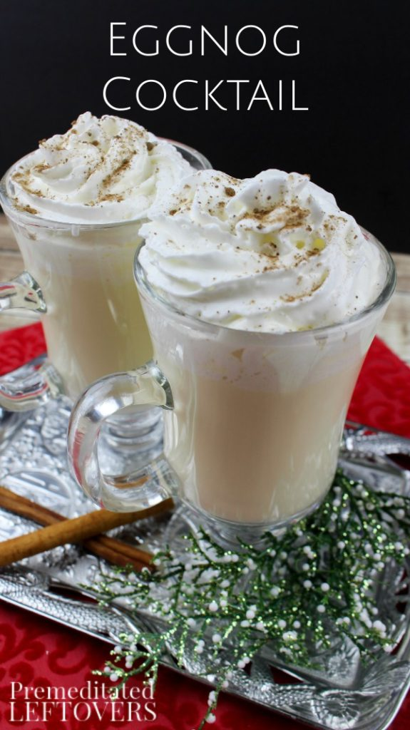 Easy Eggnog Cocktail - You just have to serve Eggnog at Christmas so why not spice it up a bit? Your guests will love this holiday cocktail recipe! {via Premeditated Leftovers}